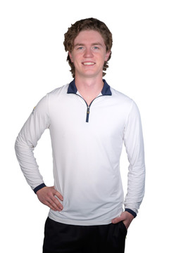 Henrik Men's UV Long Sleeve Shirt White with Navy Trim