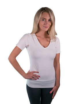 Short Sleeve V-Neck White with White Trim