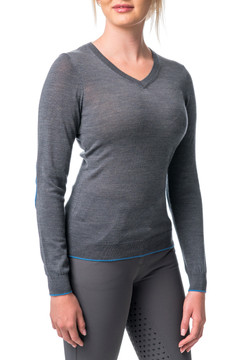 Merino Wool V-Neck Grey with Cerulean Blue