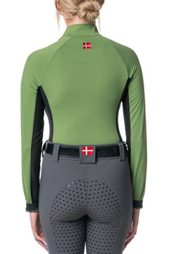 Long Sleeve 1/4 Zip Willow Green with Black Accent
