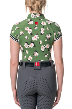 Willow Green Floral with Black and White Trim Cap Sleeve