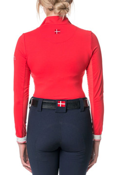Long Sleeve 1/4 Zip Cayenne with White Trim