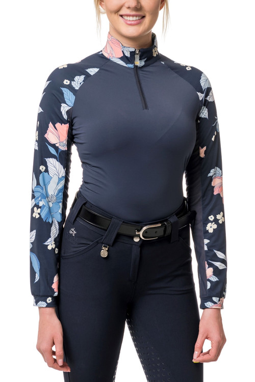 Navy with Peach Floral Raglan Sleeve