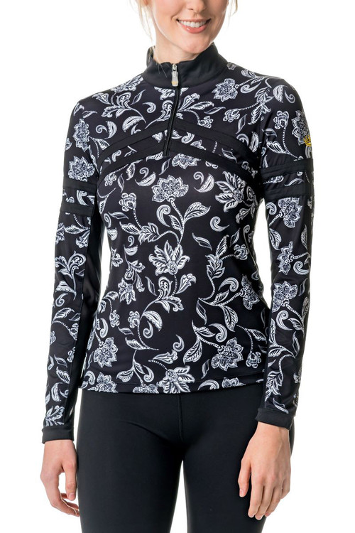 Long Sleeve Black and White Floral Chevron