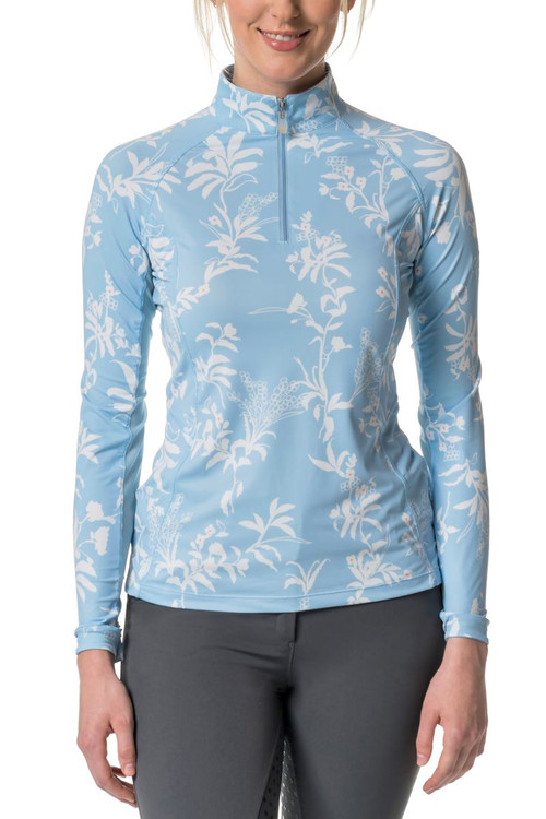 Long Sleeve Light Blue and White Floral