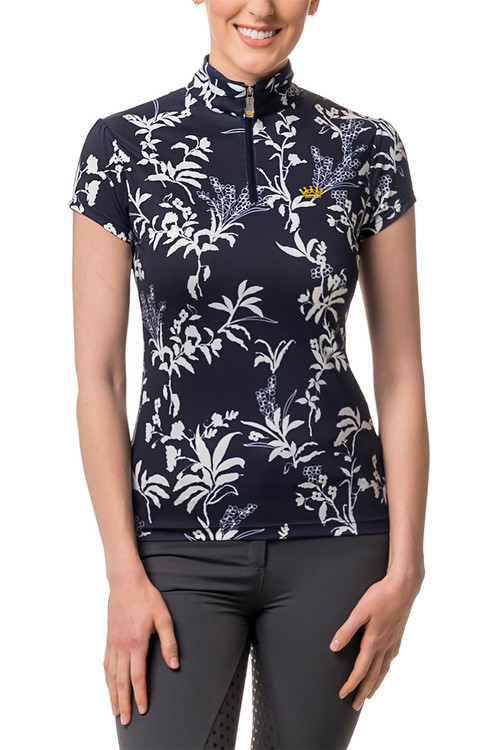 Navy and White All -Over Floral Print Cap Sleeve