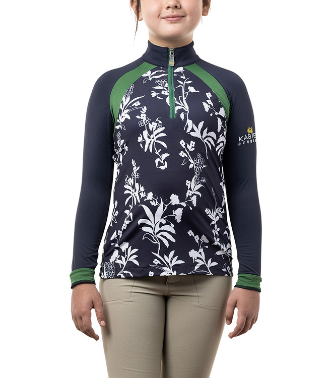 Long Sleeve Navy Floral with Grasshopper Green