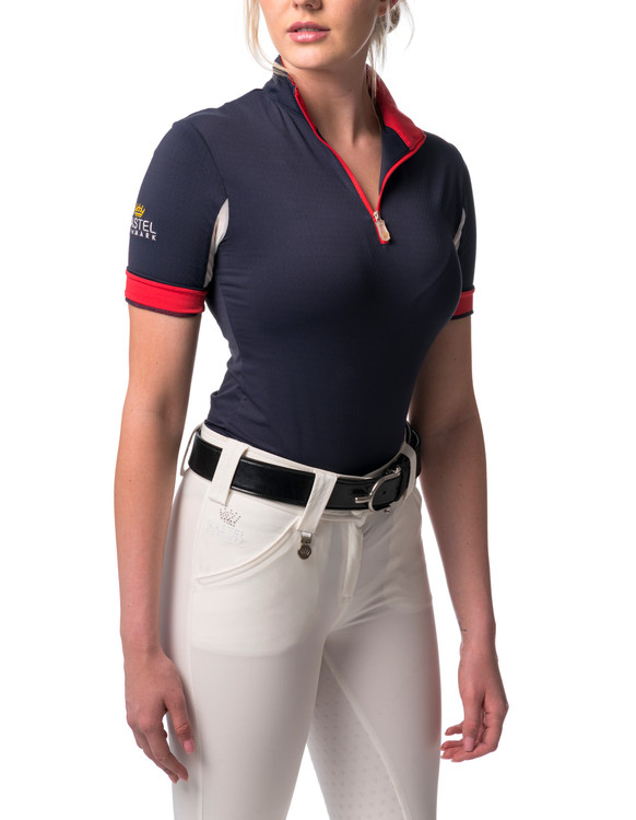 Short Sleeve Navy with Red Trim