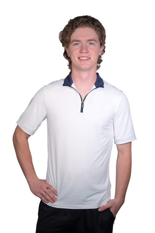 Short Sleeve Shirt White with Navy Trim