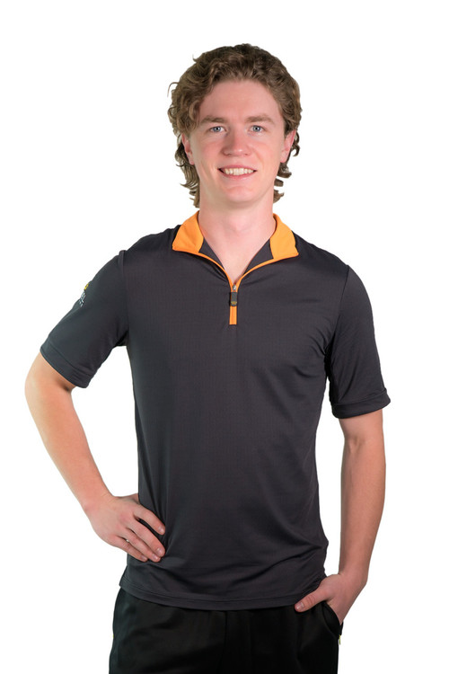 Short Sleeve Shirt Black with Orange Trim
