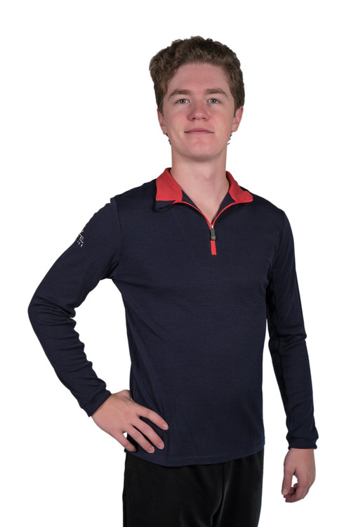 Merino Wool Collection Navy with Red Trim