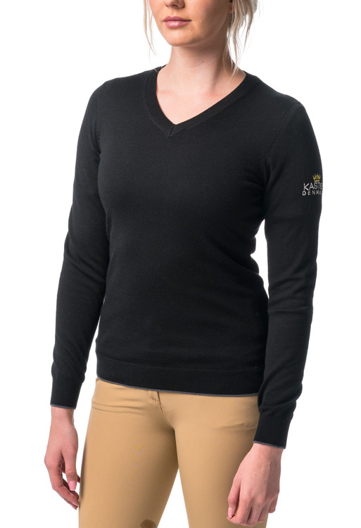 Merino Wool V-Neck Black with Grey