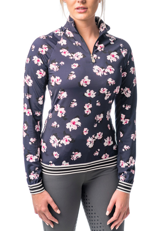 1/4 Zip Sun Shirt Navy Floral Print with Stripe Trim