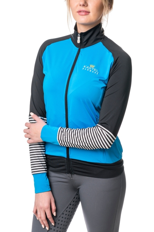 Fitted Full Zip Jacket Ibiza Blue  with Black and White Stripe Sleeves