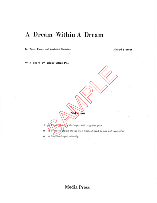 Blatter, Alfred- A Dream Within a Dream, for tenor, piano, and piano  interior (Digital Download)