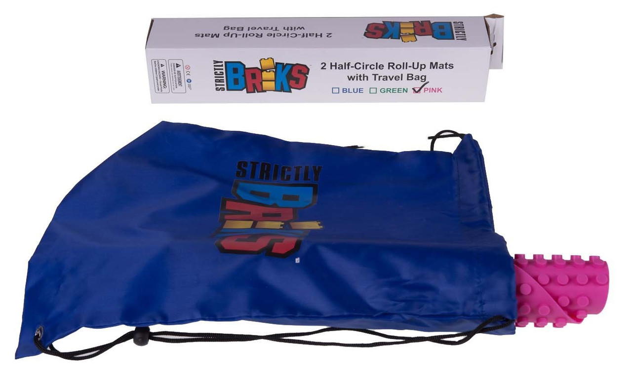 Strictly Briks Classic Blue Half Circle Roll Up Building Mat 15x15 Double Sided Silicone Travel Mat 2 Pack Drawstring Bag /& Strap Included 100/% Compatible with All Major Brands
