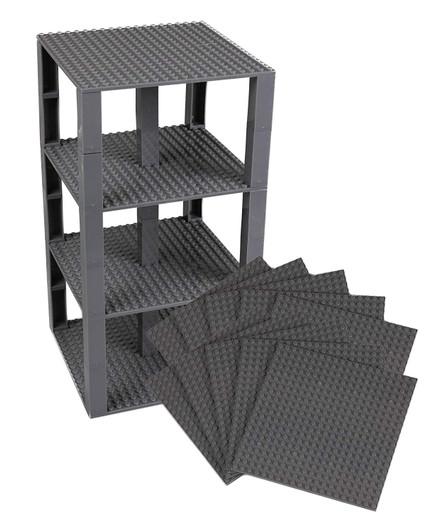"Lego Base Plates Brick Building Stackable Tower  Mega Bloks 10 Pack 6/""x6/"" Gray"