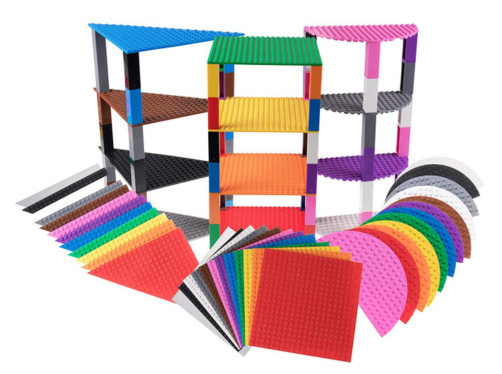 "Strictly Briks Classic Stackable 6"" Half Circle, Triangle, Square Baseplates 100% Compatible with All Major Brands 