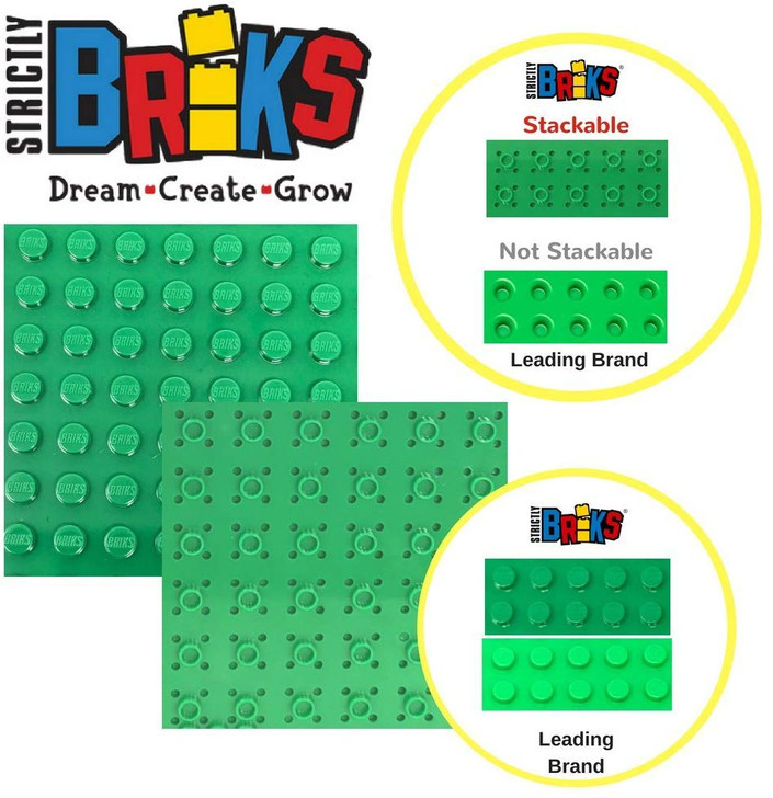 """Classic Baseplates 6"""" x 6"""" Brik Tower by Strictly Briks 