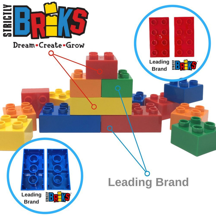 Strictly Briks Classic Big Briks Building Brick Set 100% Compatible with All Major Brands | 2 Large Block Sizes for Ages 3+ | Premium Building Bricks with Big Pegs in Pastel Colors | 108 Pieces