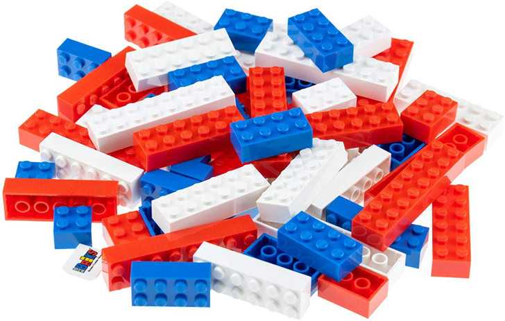 Strictly Briks American US Flag Building Bricks & Blocks Set | Independence Day Decoration & July 4th Toy Compatible with All Major Brands | Construction Toy Set for Kids and Classrooms | 60 Pieces