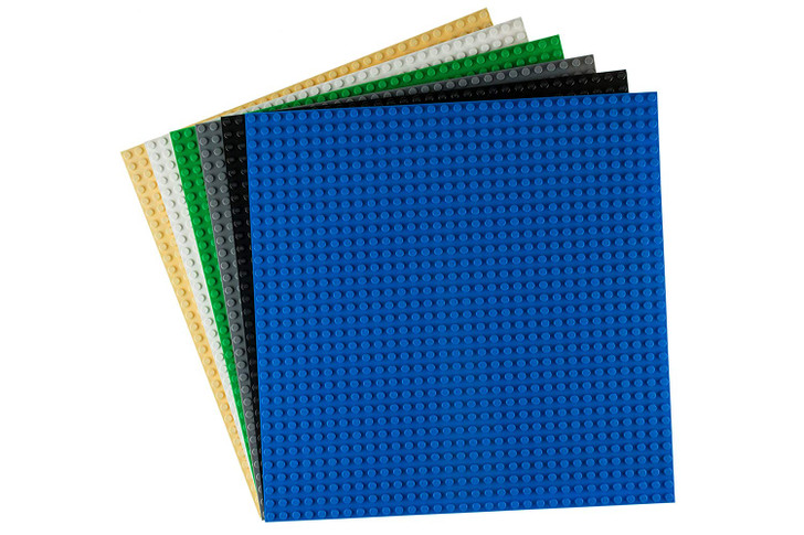"""Strictly Briks Classic Baseplates 10"""" x 10"""" Building Brick Base Plates 100% Compatible with All Major Brands   Baseplates for Building Towers, Tables & More   Black Blue Gray Green Sand White"""