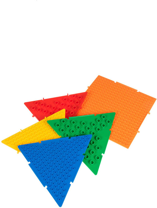 Strictly Briks The Cube & Pyramid Baseplates Patent Pending 3D Building Brick & Storage Set   Compatible with All Major Large & Small Brands   11 Plates   4 Triangle, 7 Square   Basic Colors