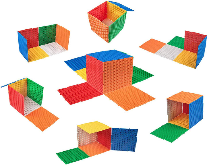 Strictly Briks The Cube & Pyramid Baseplates Patent Pending 3D Building Brick & Storage Set | Compatible with All Major Large & Small Brands | 11 Plates | 4 Triangle, 7 Square | Basic Colors