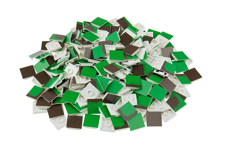 Strictly Briks Forest Building Tile Set - 100% Compatible with All Major Brick Brands - 256 2x2 Textured Tiles for Creative Play - Baseplate and 3D Briks Available Separately