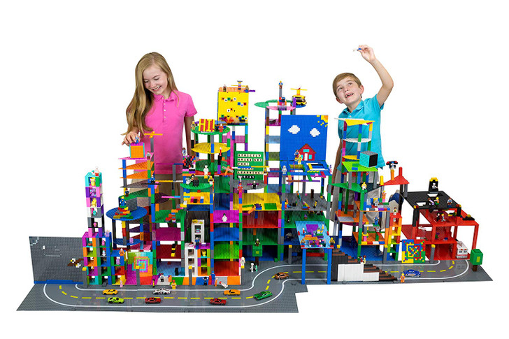 """Strictly Briks MathBriks with 10"""" x 10"""" Stackable Gray Base Plate 100% Compatible with All Major Brands 