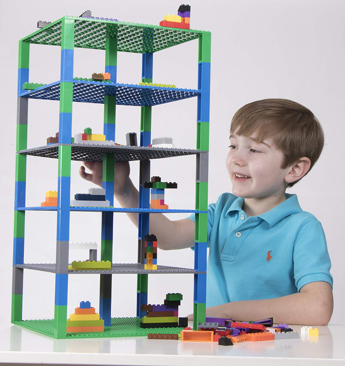 Strictly Briks Brik Tower | 6 32x32 Baseplates and 50 Stackers | Building Bricks and Blocks for Kids |