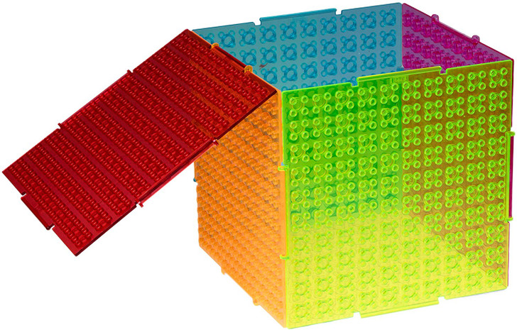 Strictly Briks The Cube 3D Building Brick & Storage Container Set Pat. Pending | Compatible with All Major Brands | 6 Square Plates | Double Sided for Large & Small Bricks (Clear Neon Theme)