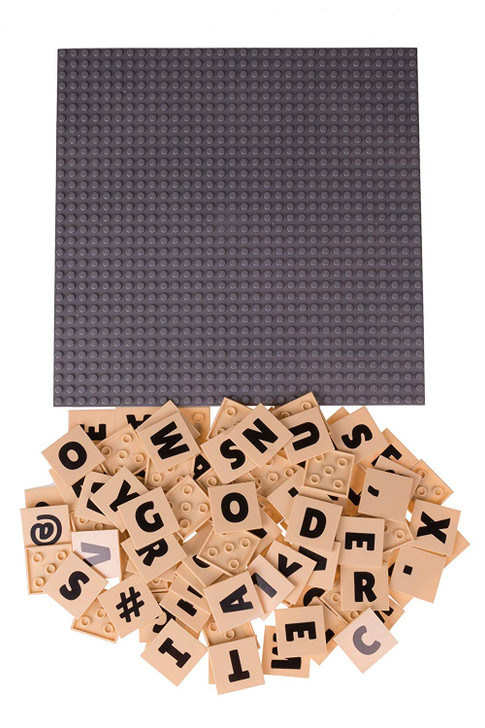 """Strictly Briks AlphaBriks with 10"""" x 10"""" Stackable Gray Base Plate 100% Compatible with All Major Brands 