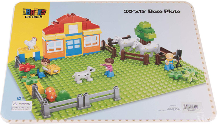 "Strictly Briks Classic Big Briks Baseplate 15"" x 10.5"" Large Building Brick Baseplate 100% Compatible with All Major Brands 