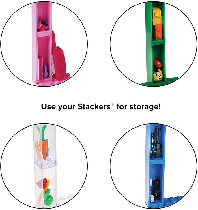 """Strictly Briks Classic Baseplates 10"""" x 10"""" Brik Tower 100% Compatible with All Major Brands   Building Bricks for Towers and More   4 Silver Stackable Base Plates & 30 Stackers"""