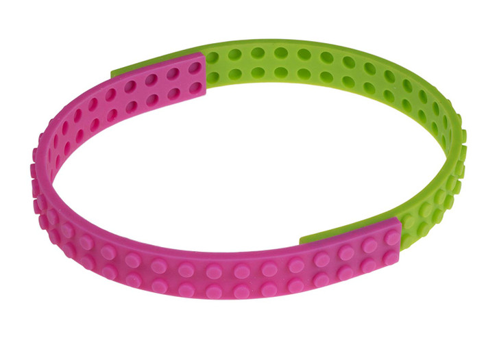 Strictly Briks Silicone 6 Flexible 2X28 Connector Straps 100% Compatible with All Major Brands| Soft Building Bricks for Swings, Slides, & Bracelets| Patent Pending | Blue, Green, Pink