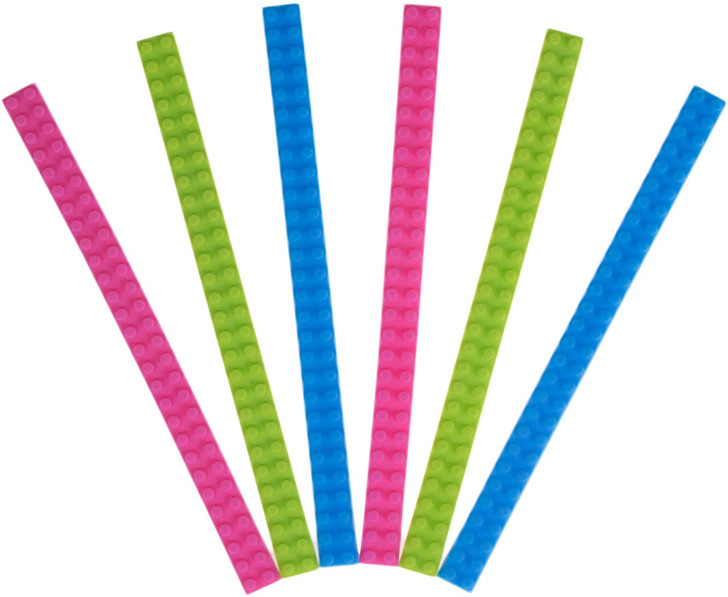 Strictly Briks Silicone 6 Flexible 2X28 Connector Straps 100% Compatible with All Major Brands  Soft Building Bricks for Swings, Slides, & Bracelets  Patent Pending   Blue, Green, Pink