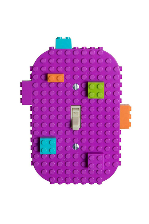Light Switch Cover - 24 Pack Single Switches - 6 Lime Green, 6 Orange, 6 Turquoise, and 6 Magenta with 2 Screws per Plate and 12 Briks (1 2x1 Turquoise, 1 2x1 Lime Green, 1 2x1 Magenta, 1 2x1 Orange,