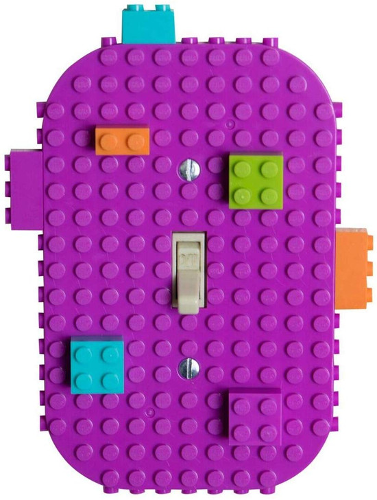LightSwitchCover -24 Pack Single Switches - 6 Lime Green, 6 Orange, 6 Turquoise, and 6 Magenta with 2 Screws per Plate and 12 Briks (1 2x1 Turquoise, 1 2x1 Lime Green, 1 2x1 Magenta, 1 2x1 Orange,