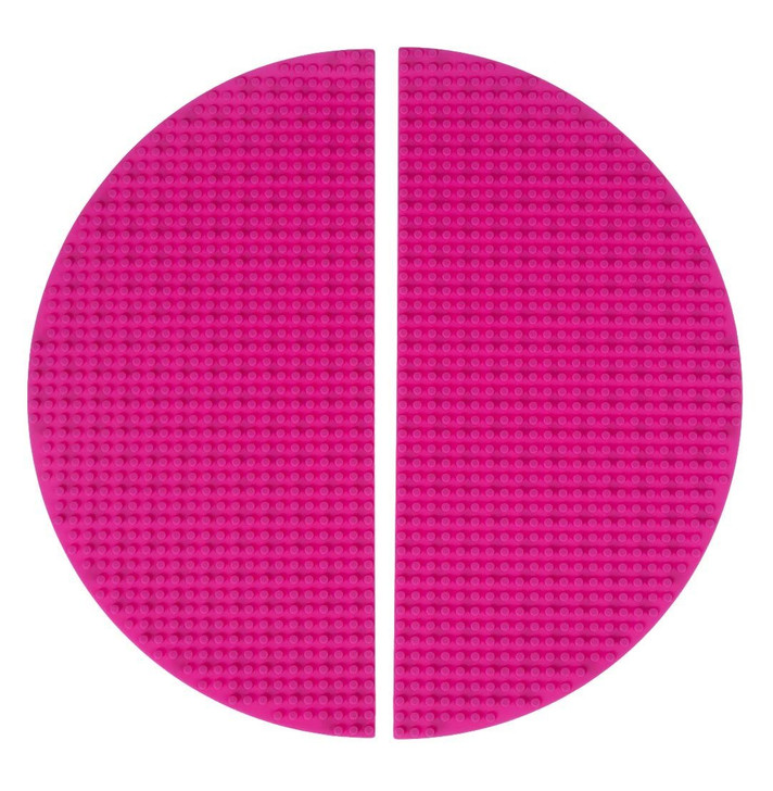 """Strictly Briks Classic Pink Half Circle Roll Up Building Mat 15""""x15"""" Double Sided Silicone Travel Mat 