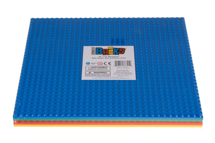 """Classic Stackable Baseplates 10"""" x 10"""" Building Brick Base Plates by Strictly Briks 