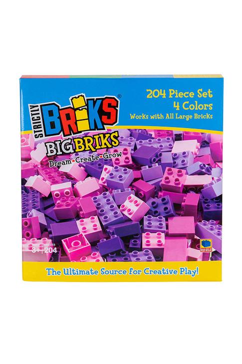 Big Briks - Building Block Set for Kids - 100% Compatible with Large Brick Toys - 204 Pieces, Pink, Magenta, Lavender, Purple