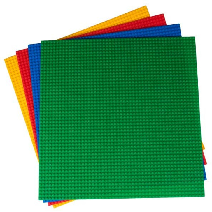 "Strictly Briks Classic Baseplates for Building Bricks by | 100% Compatible with Major Brands | Building Bases for Tables, Mats and More! | 4 Baseplates in Blue, Green, Red, and Yellow (15.75""x15.75"")"