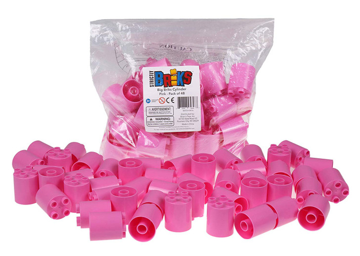 Strictly Briks Classic Big Briks 48 Piece Round Stackers Set Cylinder Building Brick Set 100% Compatible with All Major Brands   Large Pegs for Toddlers   Ages 3+   Pink Premium Building Bricks