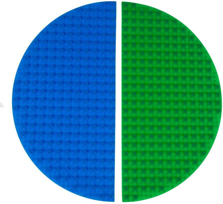 """Strictly Briks Classic Blue & Green Half Circle Roll Up Building Mat 15""""x15"""" Double Sided Silicone Travel Mat 