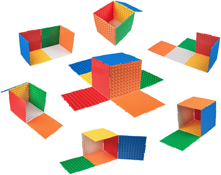 Strictly Briks The Cube 3D Building Brick & Storage Container Set Pat. Pending | Compatible with All Major Brands | 6 Square Plates | Double Sided for Large & Small Bricks (Basic Theme)