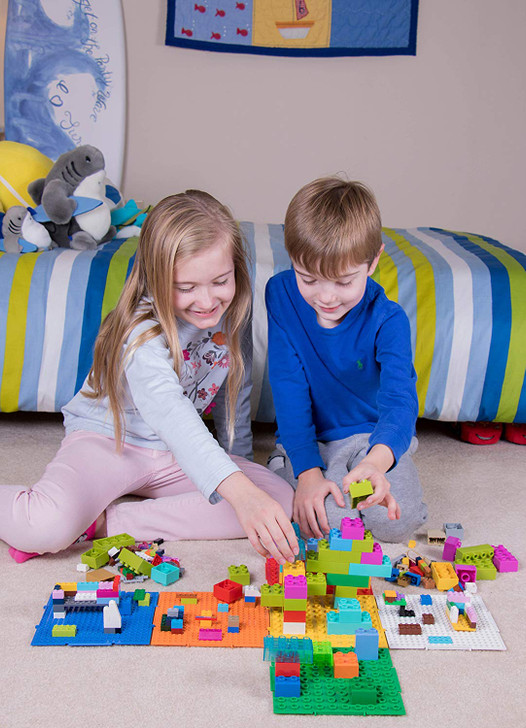Strictly Briks The Cube 3D Building Brick & Storage Container Set Pat. Pending   Compatible with All Major Brands   6 Square Plates   Double Sided for Large & Small Bricks (Basic Theme)