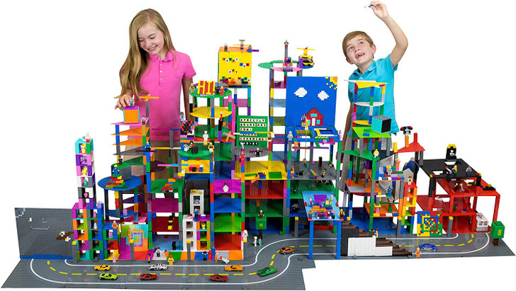 Classic Mini Cube Building Set   Blocks and Bricks Compatible with All Major Brands   STEM Toys Set   14 Pieces   8x8 Baseplates and 3D Briks   Blue, Green, and Gray   Patent Pending