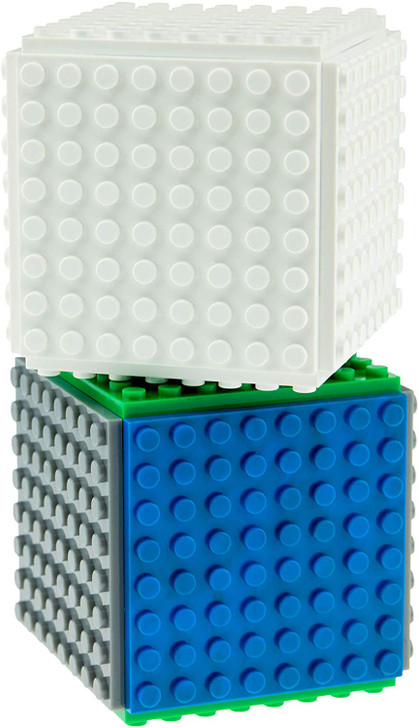 Classic Mini Cube Building Set | Blocks and Bricks Compatible with All Major Brands | STEM Toys Set | 14 Pieces | 8x8 Baseplates and 3D Briks | Blue, Green, and Gray | Patent Pending