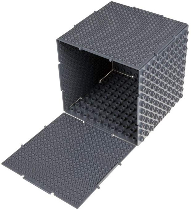 Strictly Briks The Cube 3D Building Brick & Storage Container Set Pat. Pending | Compatible with All Major Brands | 6 Square Plates | Double Sided for Large & Small Bricks (Gray)